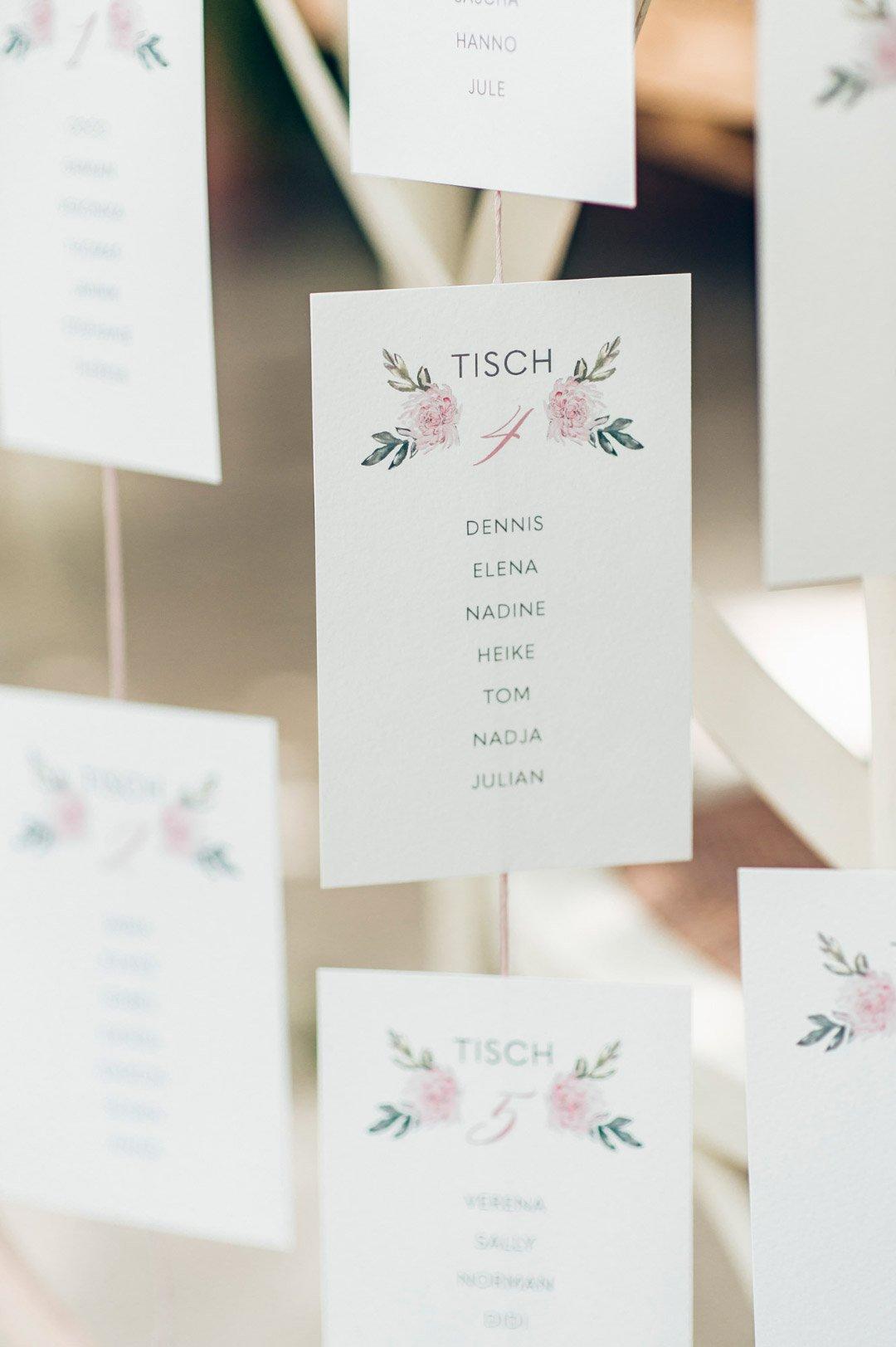 Nahaufnahme vom Sitzplan bei der Hochzeit
