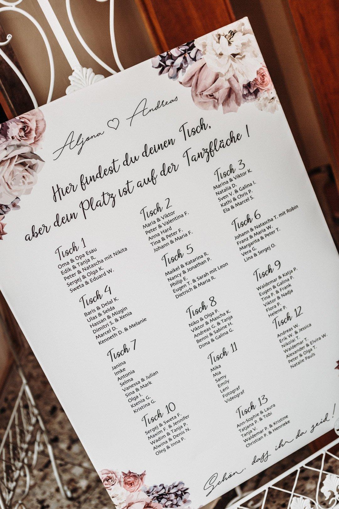 Sitzplan bei der Hochzeit auf einer Tafel gedruckt