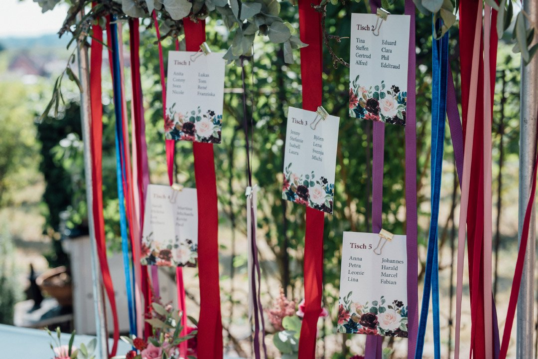 Sitzplan bei der Hochzeit mit Papeterie in kräftigen Farben