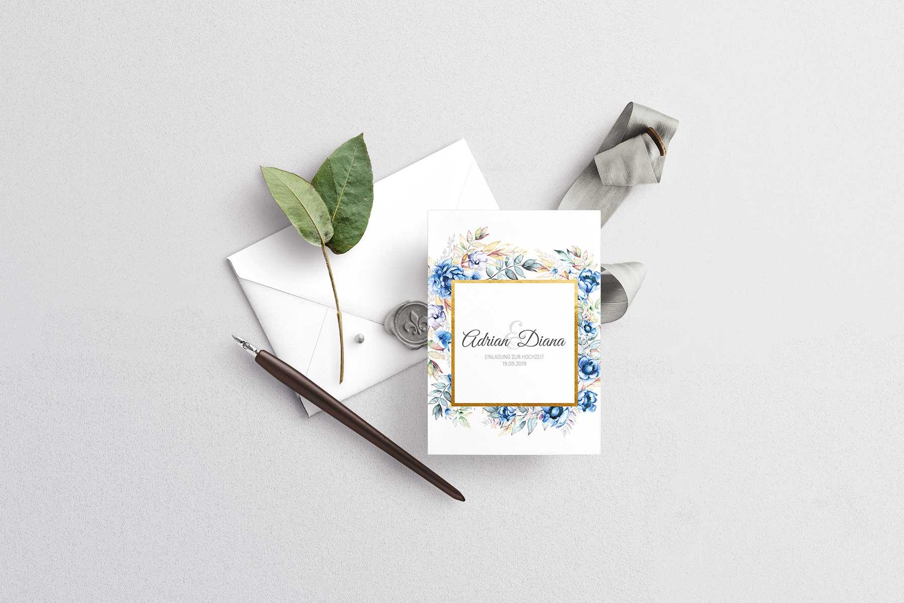 Papeterie-Serie Blue Floral: Einladungskarte