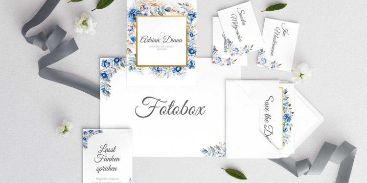 Papeterie-Serie Blue Floral: Vorlagen für eure Hochzeit in Royalblau