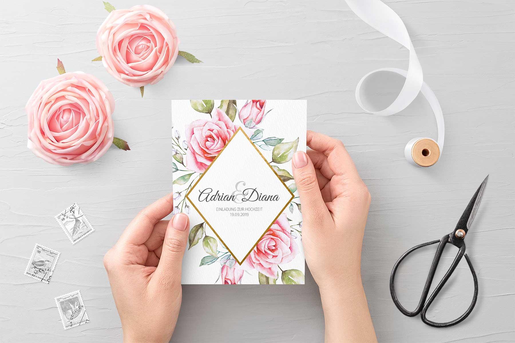 Papeterie Serie Pink Roses: Einladungskarte