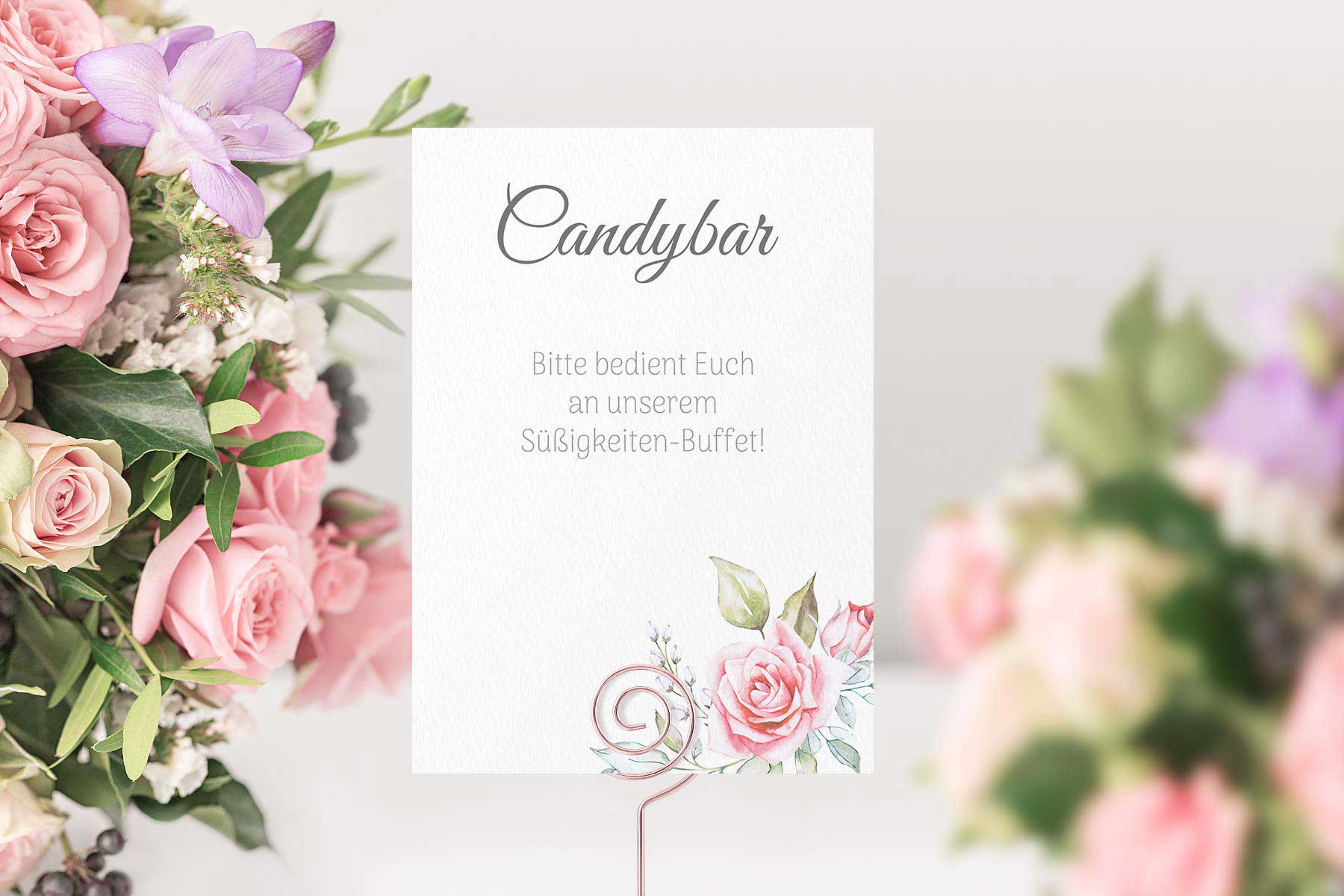 Papeterie Serie Pink Roses: Schilder für eure Hochzeit