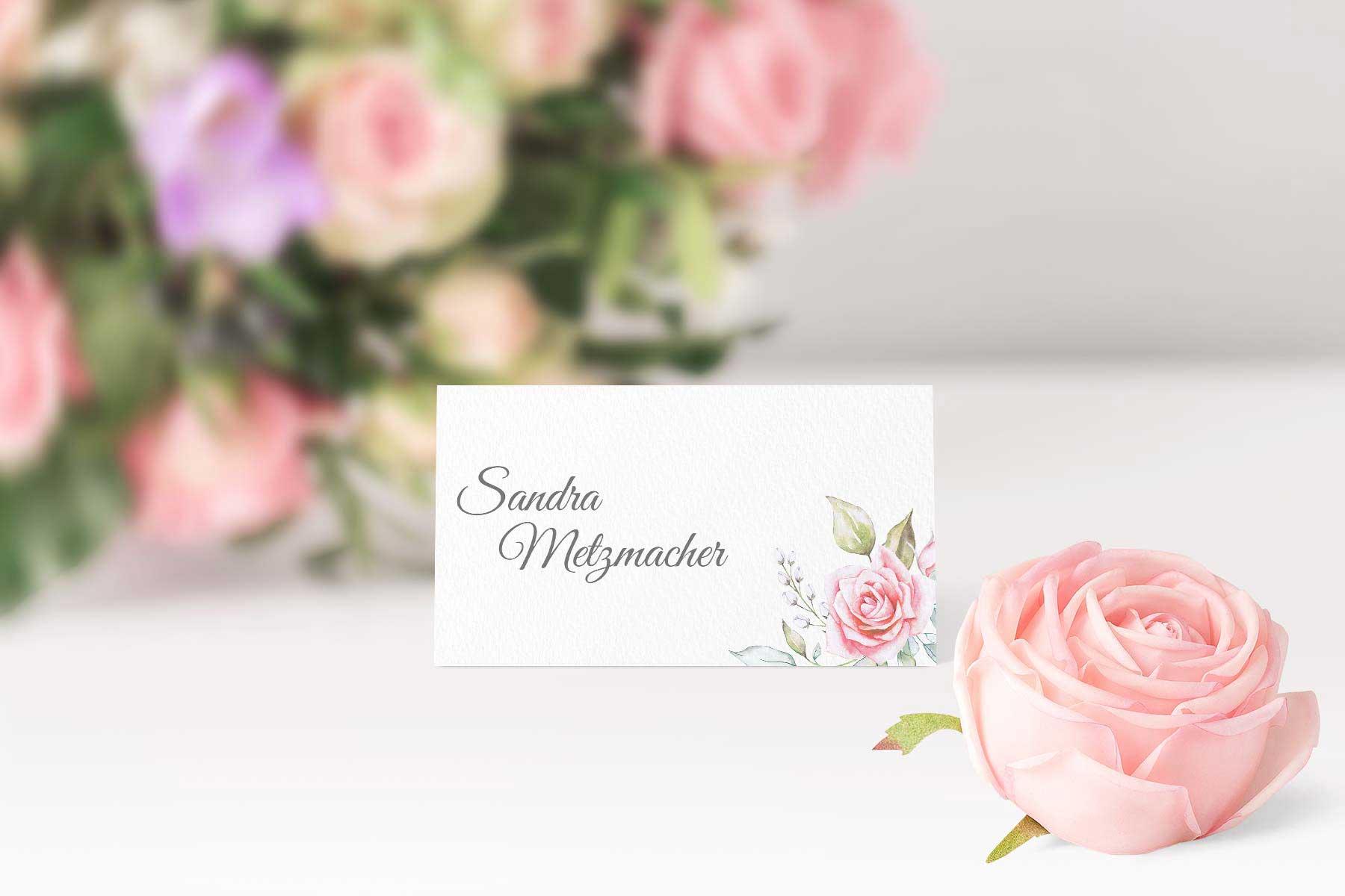 Papeterie Serie Pink Roses: Tischkarten