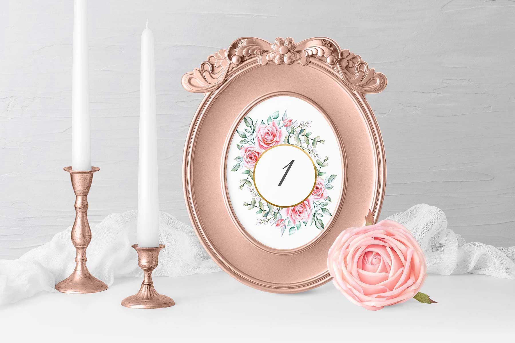 Papeterie Serie Pink Roses: Tischnummern