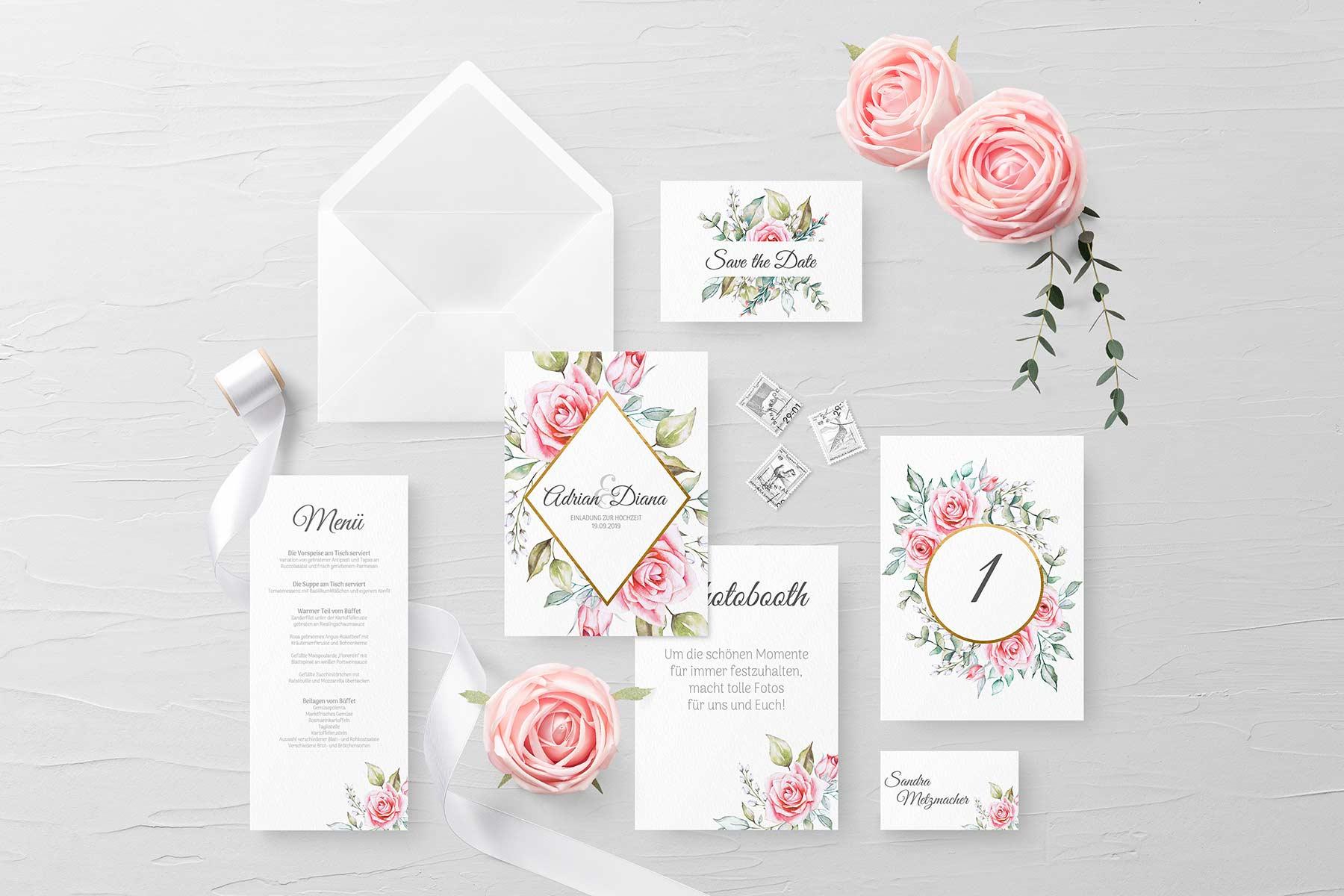 Papeterie Serie Pink Roses: Kostenlose Vorlagen für eure Hochzeit