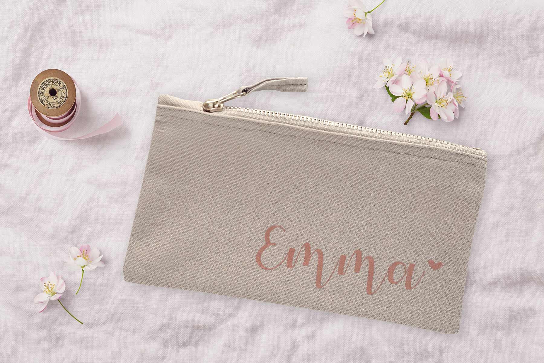 Personalisierte Kosmetiktasche für die Braut, Trauzeugin und Brautjungfern