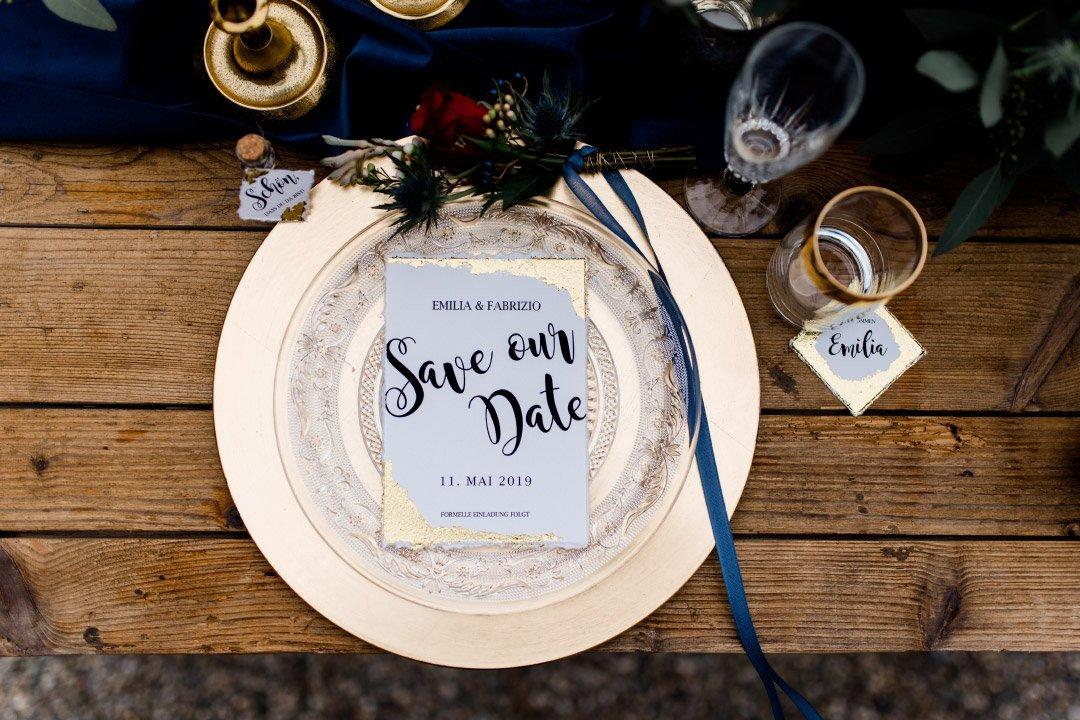 Papeterie zur Hochzeit mit Blattgold