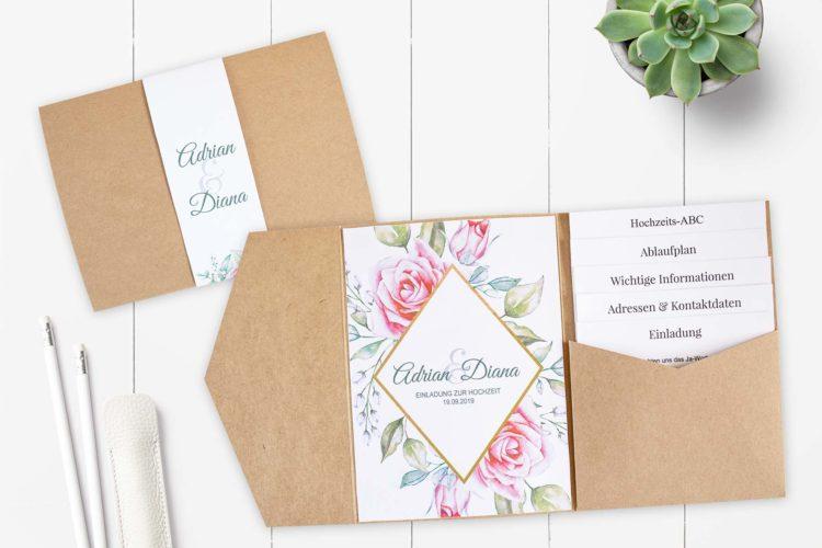 DIY Pocketfold Einladung zur Hochzeit