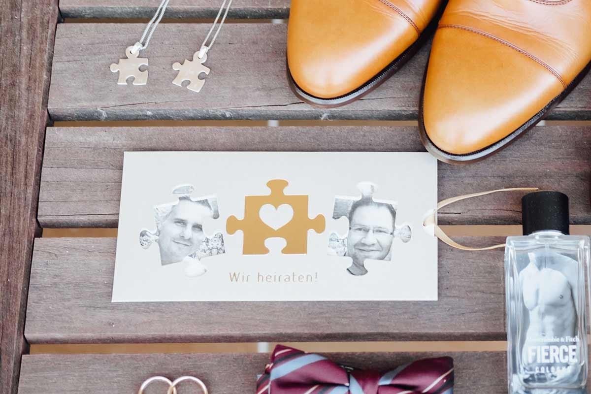 Einladung zur Hochzeit, passend zum Thema Puzzle