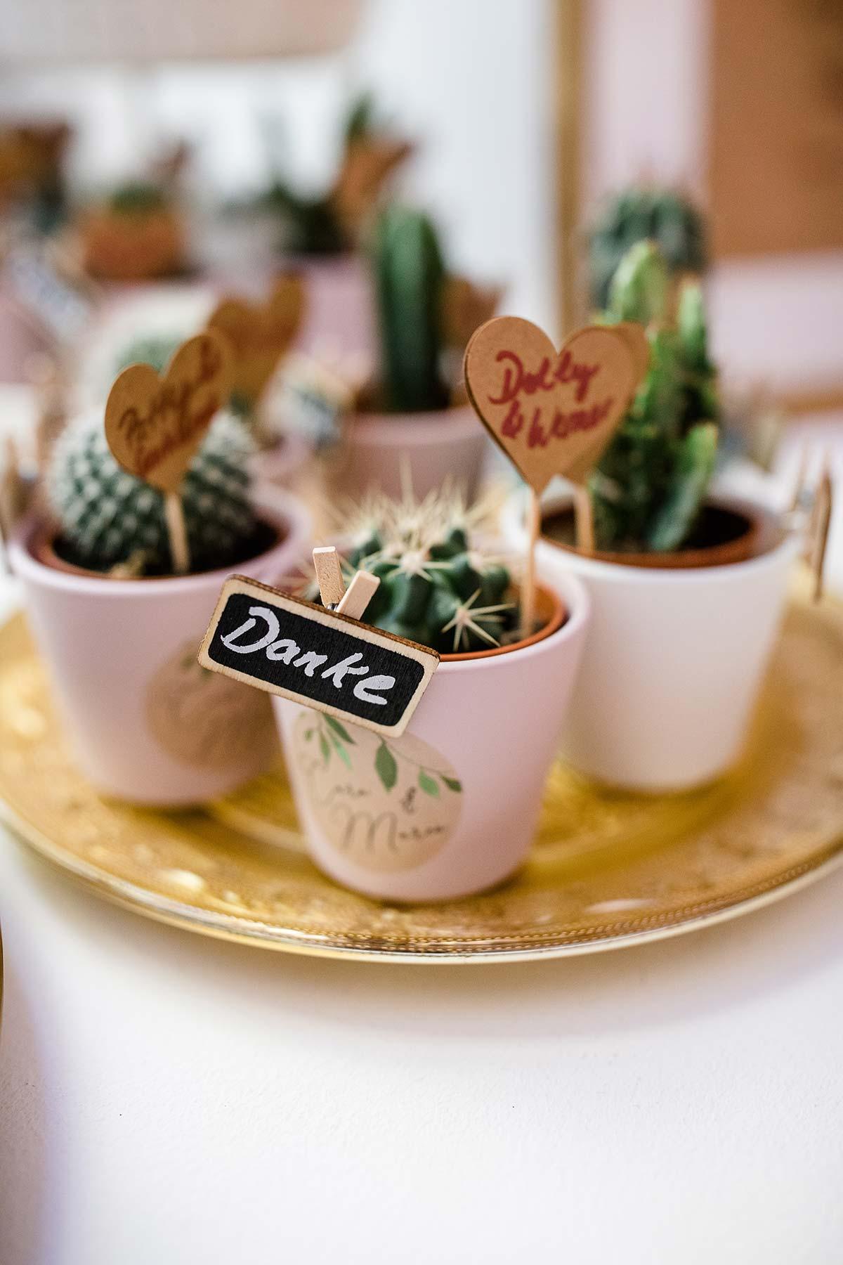 Kleine Blumen oder Pflanzen als Gastgeschenk zur Hochzeit