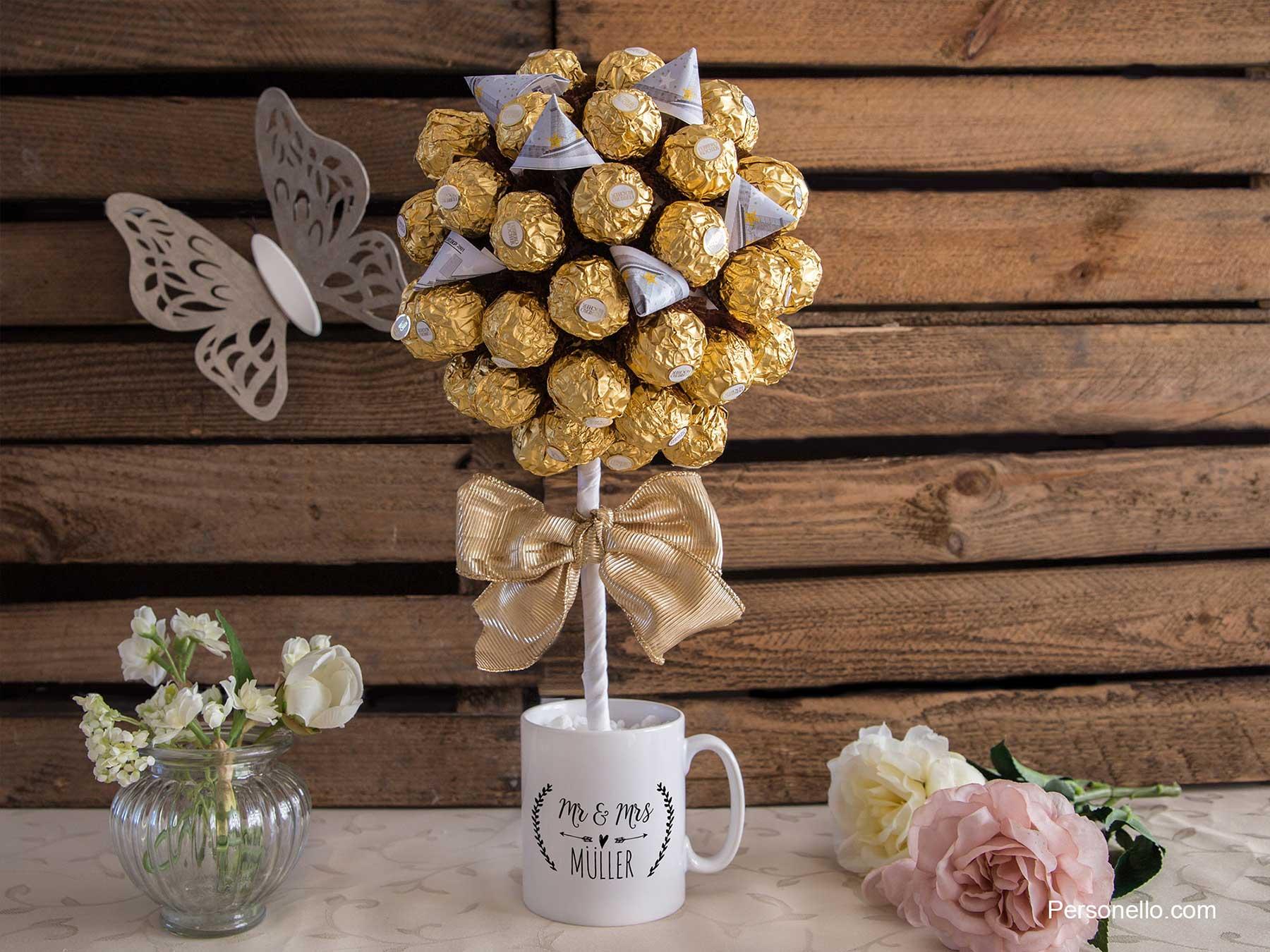 Rocher-Baum, mit Geld-Blüten