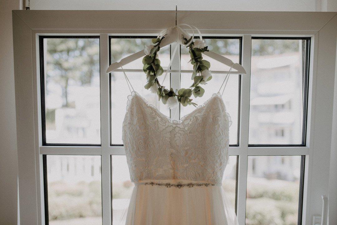 Detailaufnahme von dem Brautkleid