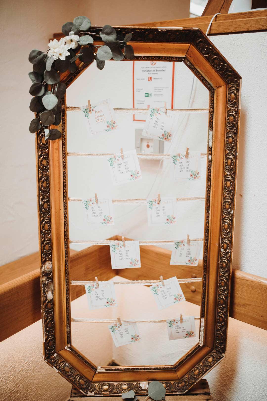 Sitzplan zur Hochzeit aus einem alten Bilderrahmen