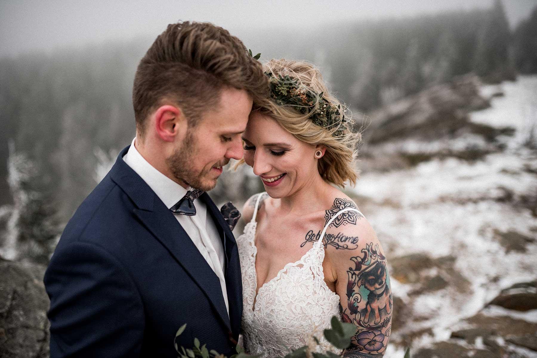 After Wedding Fotoshooting auf der Wolfswarte im Harz