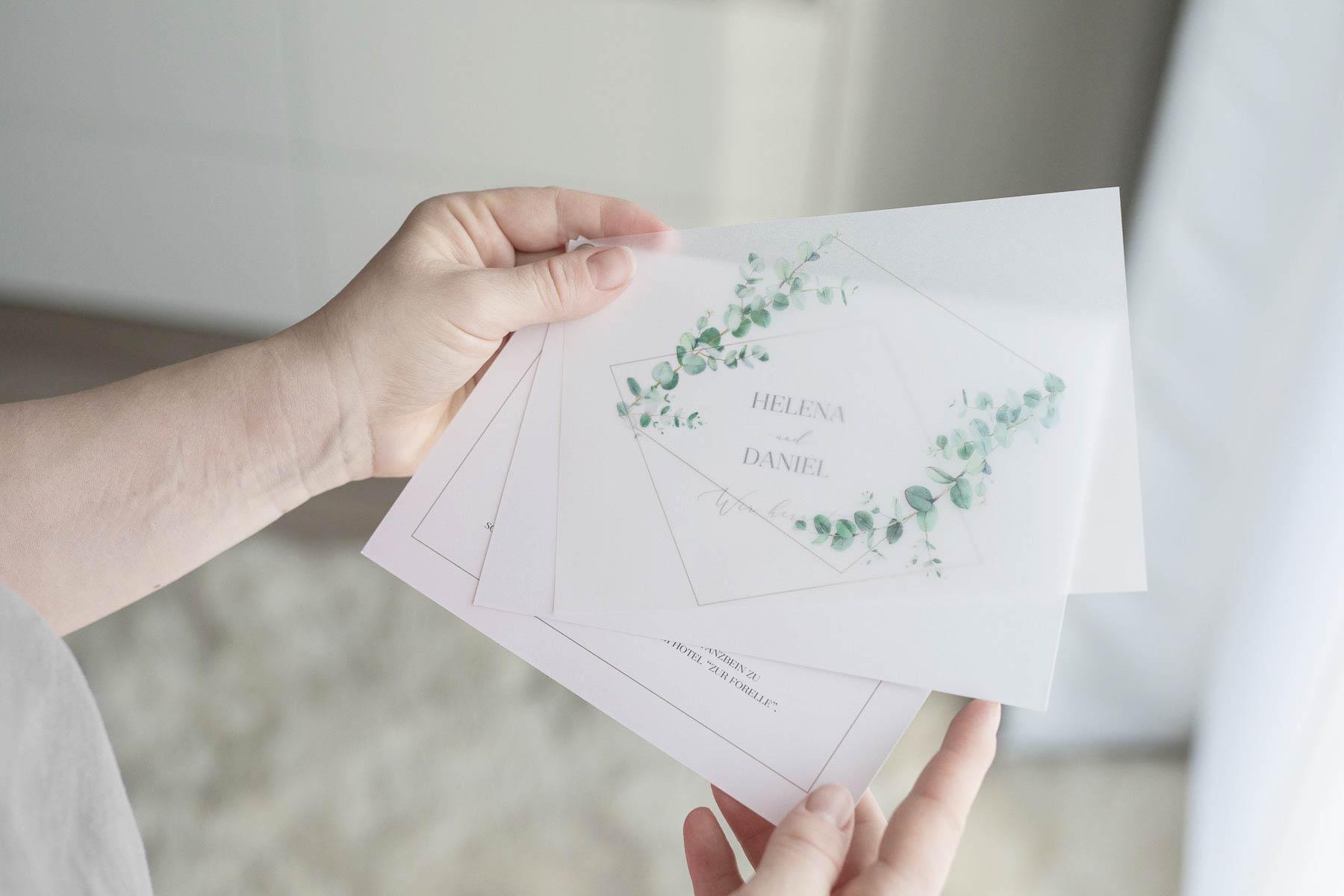 Hochzeitseinladungen und mehr passend zum Greenery Stil