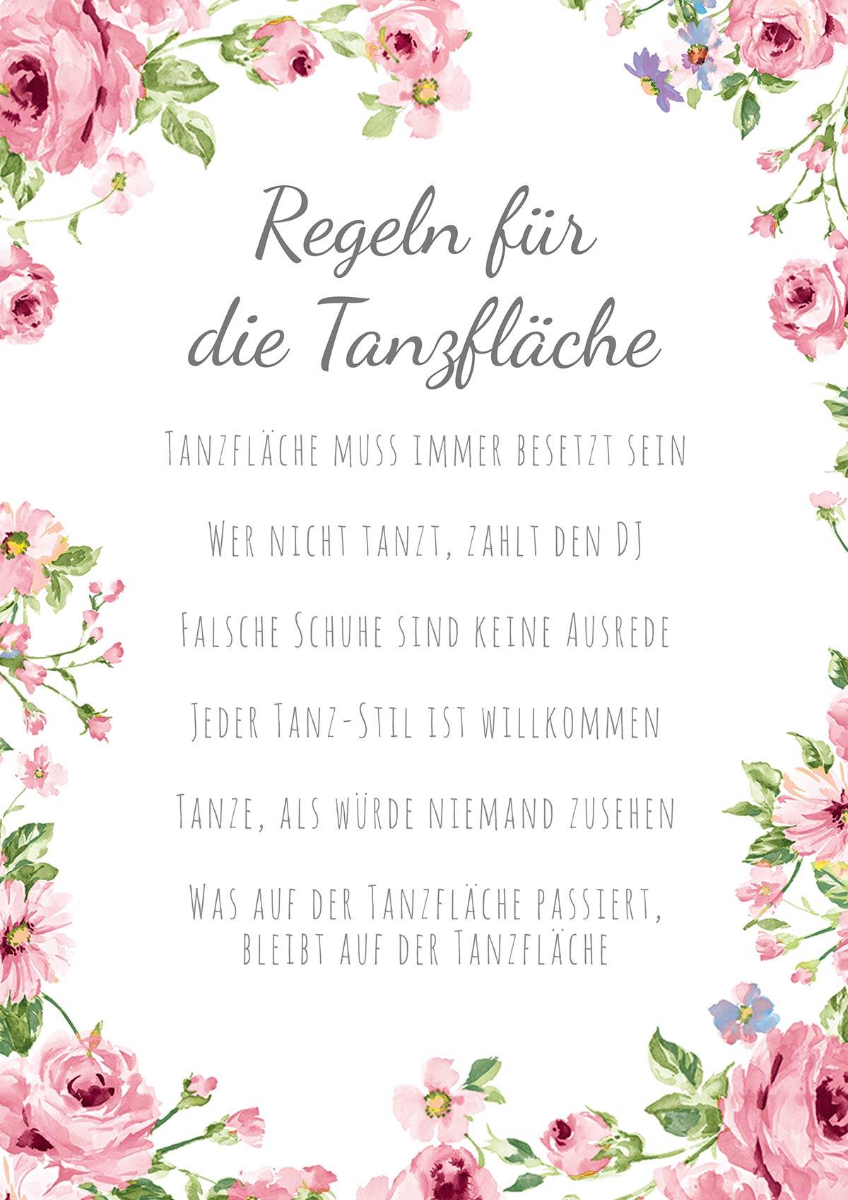 Regeln für die Tanzfläche - Serie Around Flowers (in 6 verschiedene Farben)
