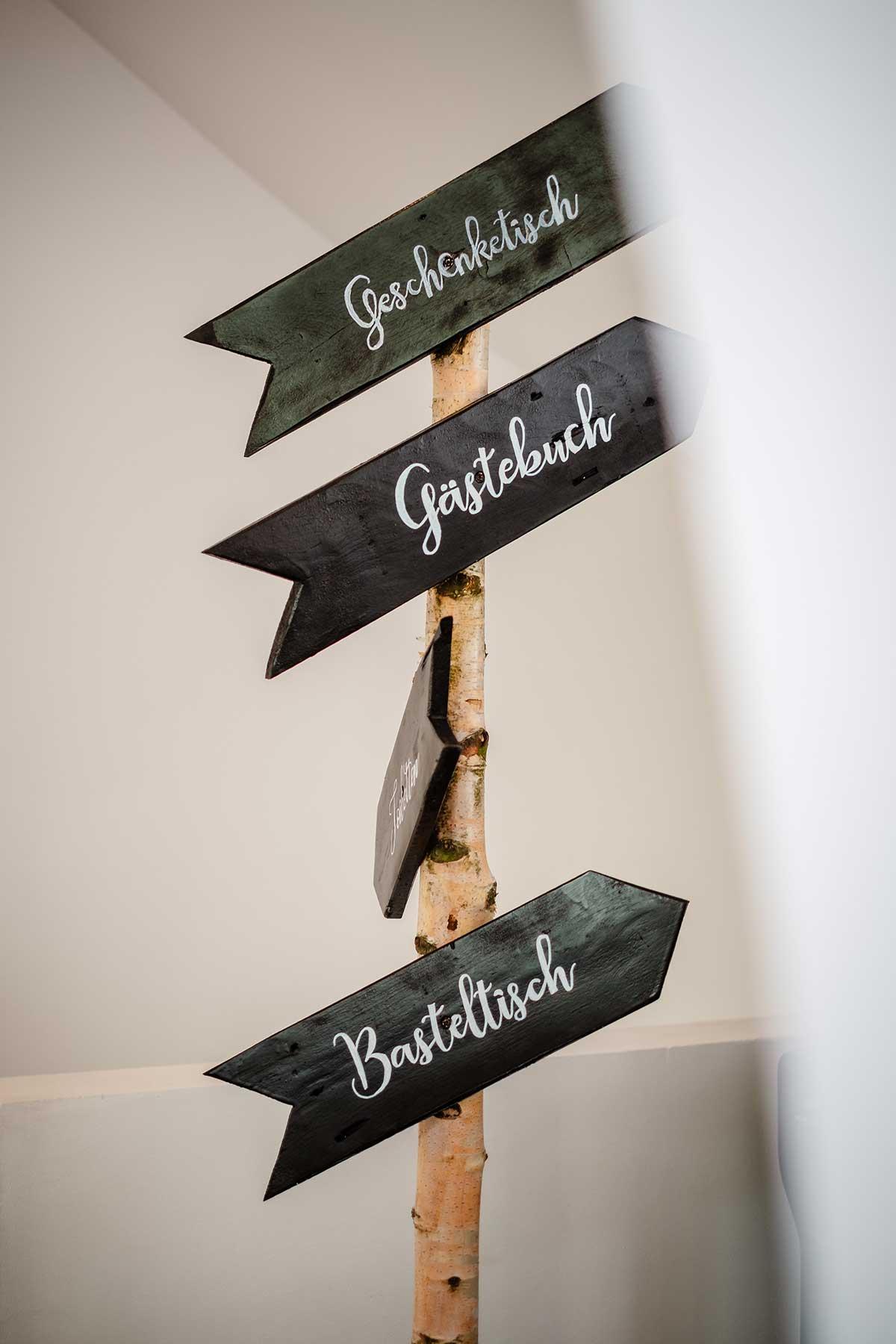Wegweiser mit Pfeilen bei der Hochzeit