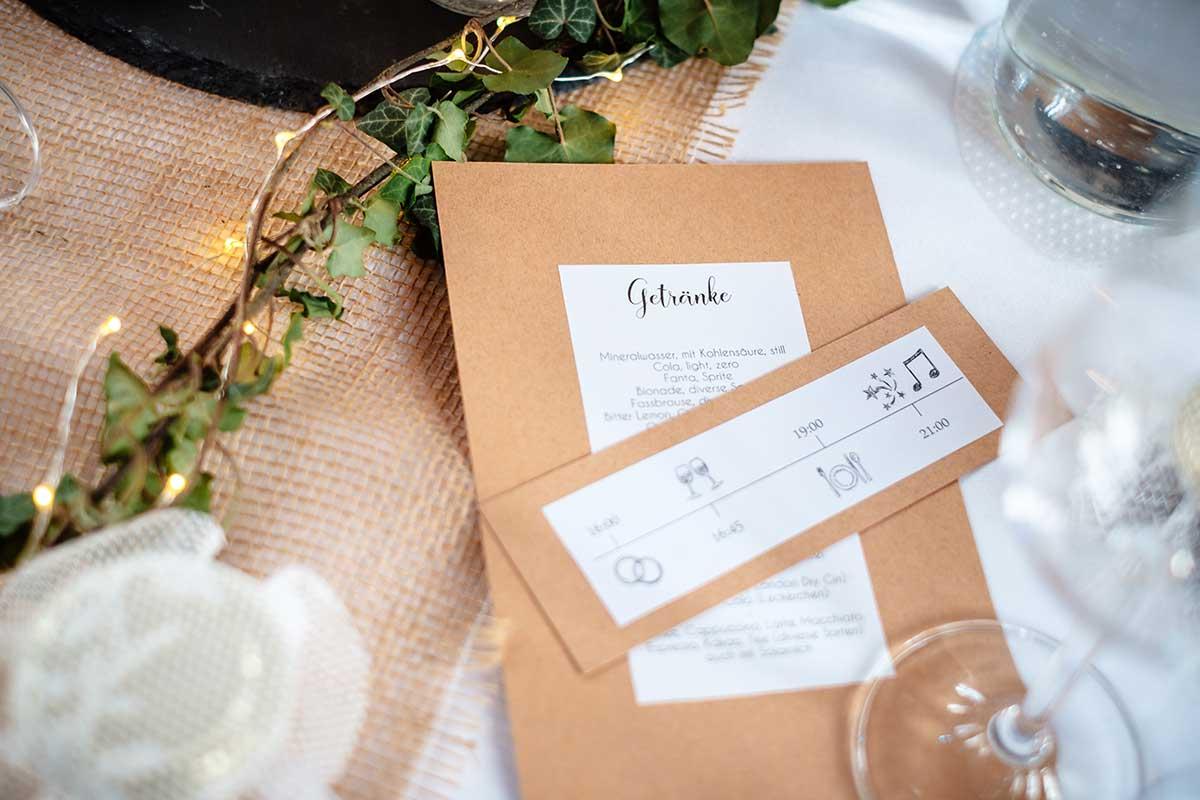 DIY Getränkekarte und Ablaufplan bei der Hochzeit mit Kraftpapier
