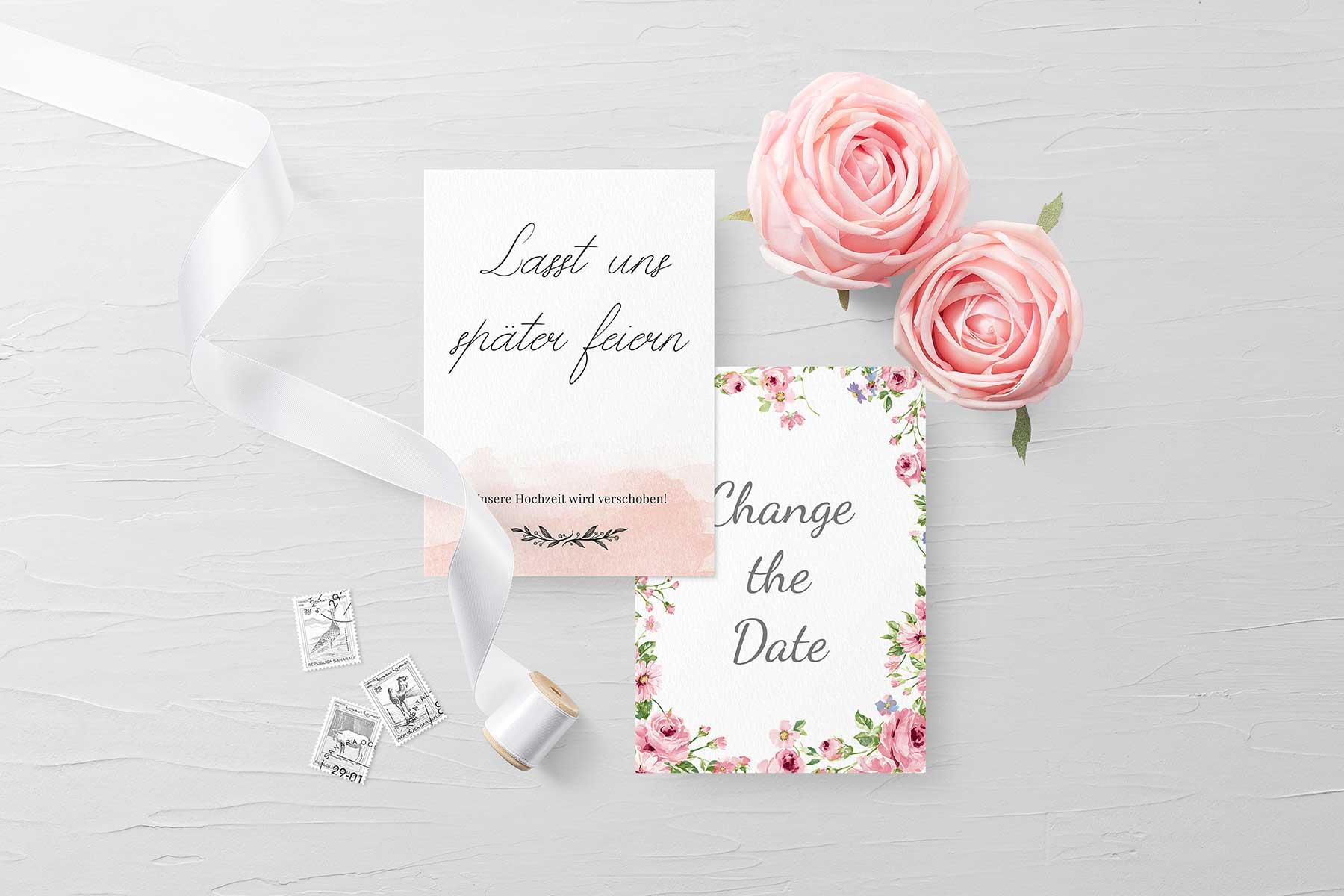 Change the Date Karten zur Hochzeit als Freebie zum Download