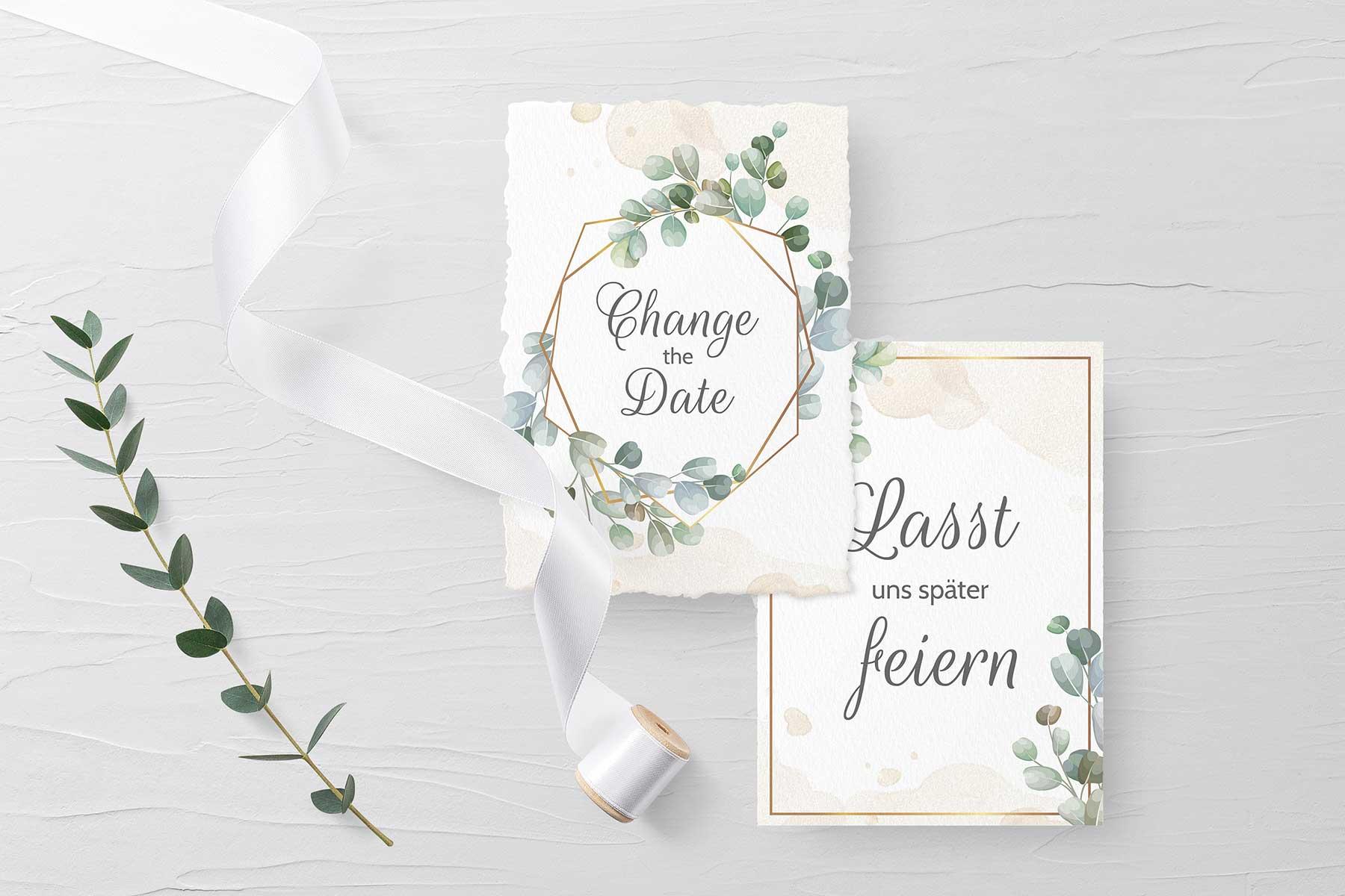 Change the Date Karten zur Hochzeit im Eukalyptus Stil