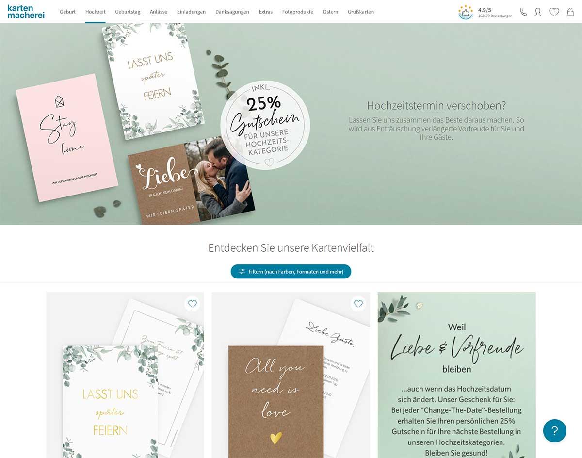 Karten zum Thema Hochzeitstermin verschieben bei der kartenmacherei