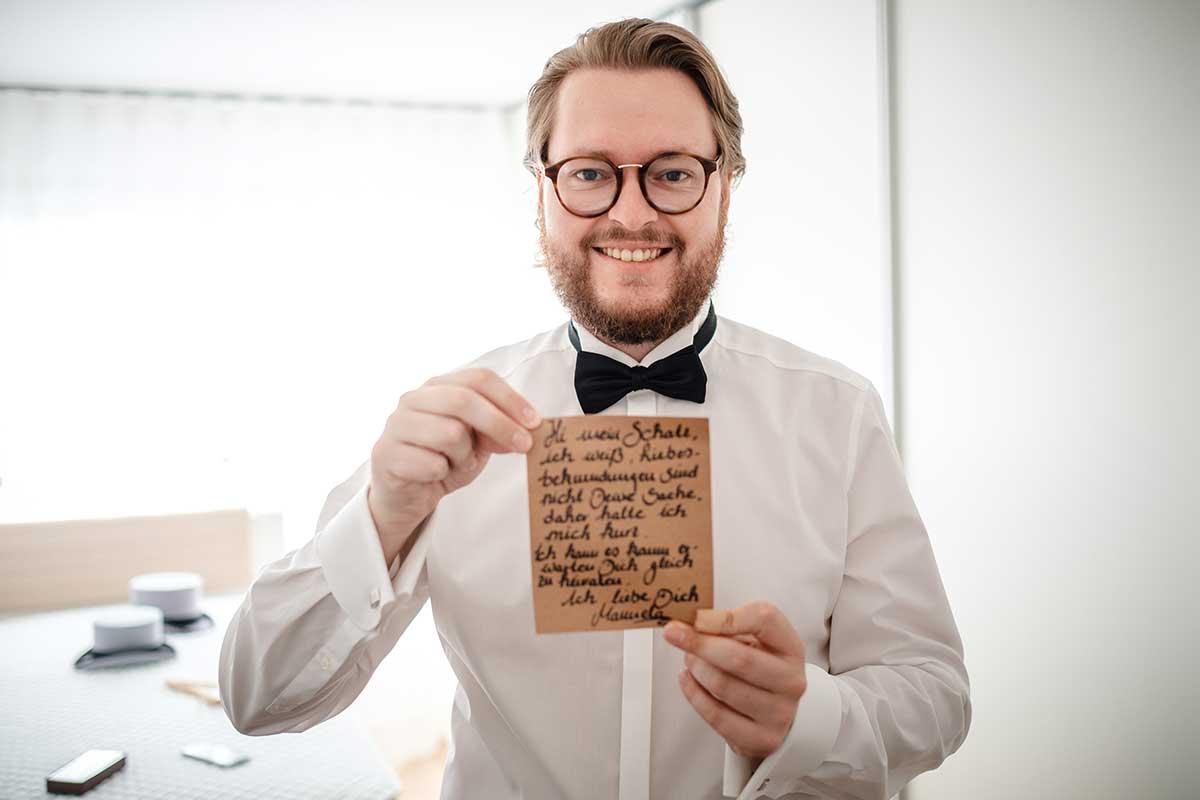 Nachricht der Braut für ihren Bräutigam