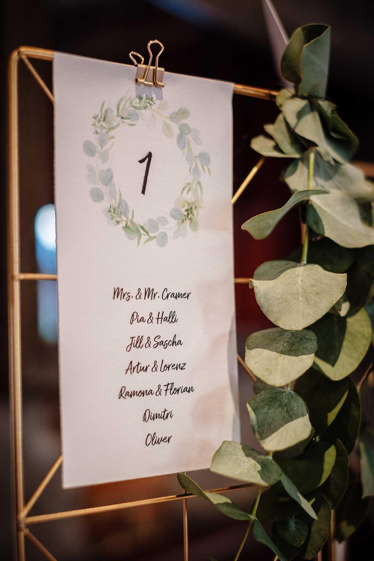 Detail von dem Sitzplan bei der Greenery und Gold Hochzeit im Landhaus Grum in Hattingen