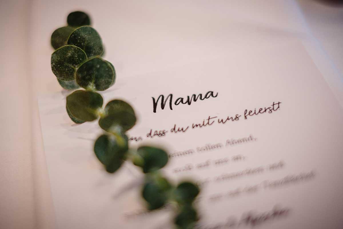Personliche Worte an die Brautmama