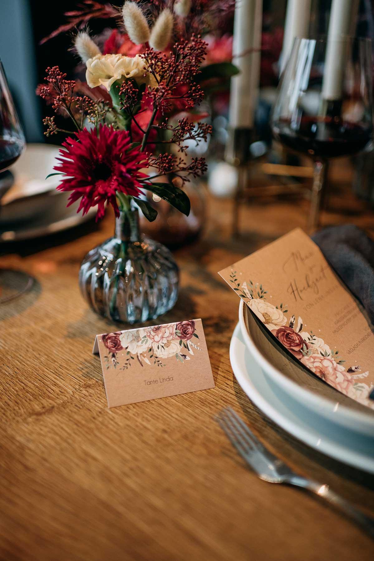 Tischkarte bei der Hochzeit gedruckt von der kartenmacherei