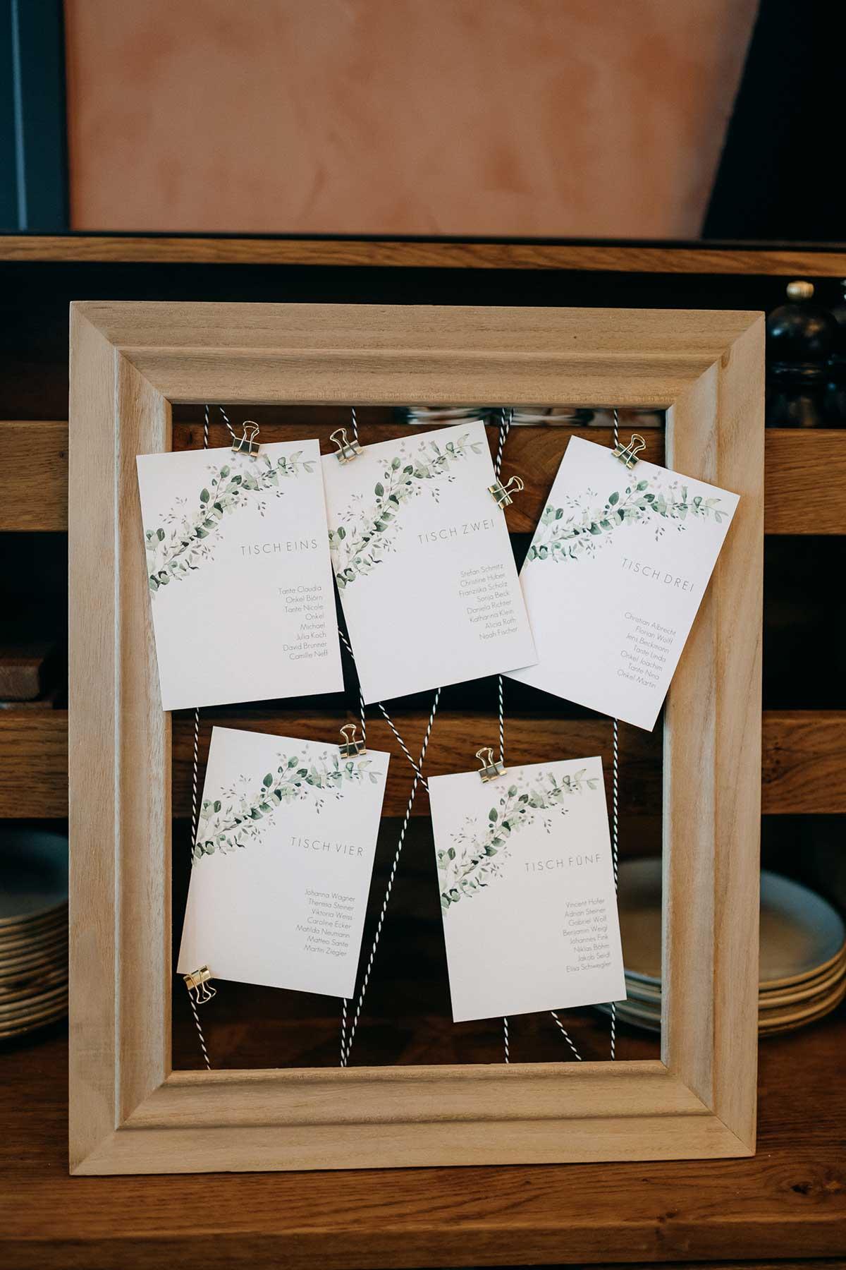 Sitzplan bei einer Hochzeit im Bilderrahmen