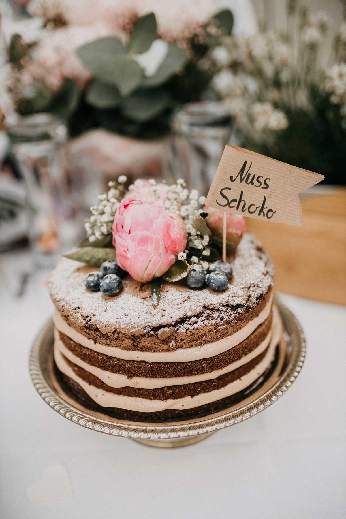 Nuss Schokoladen Torte bei der Hochzeit