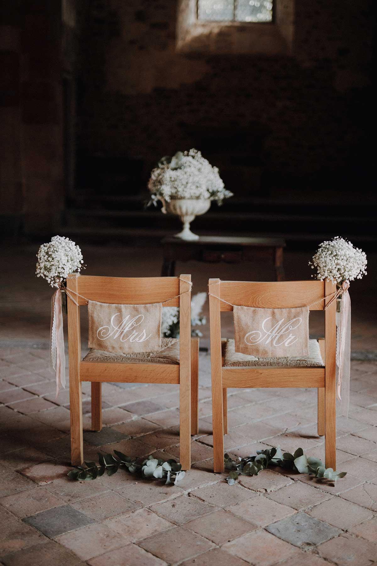 Braut und Bräutigam Stuhl in der Kirche