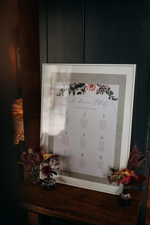 Gedruckter Sitzplan bei der Hochzeit in einem Bilderrahmen