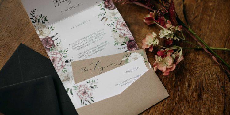 Pocketfold Einladungen zur Hochzeit drucken lassen