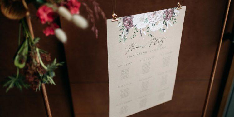 Sitzplan für die Hochzeit drucken lassen