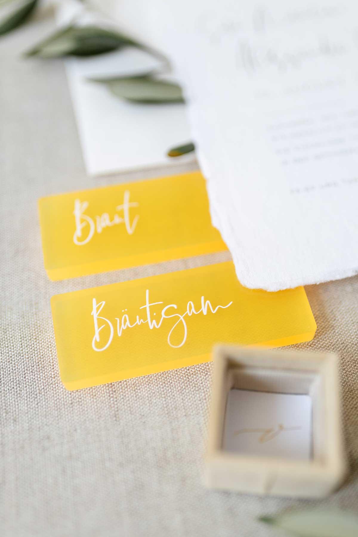 Braut und Bräutigam Platzkarten aus Acryl