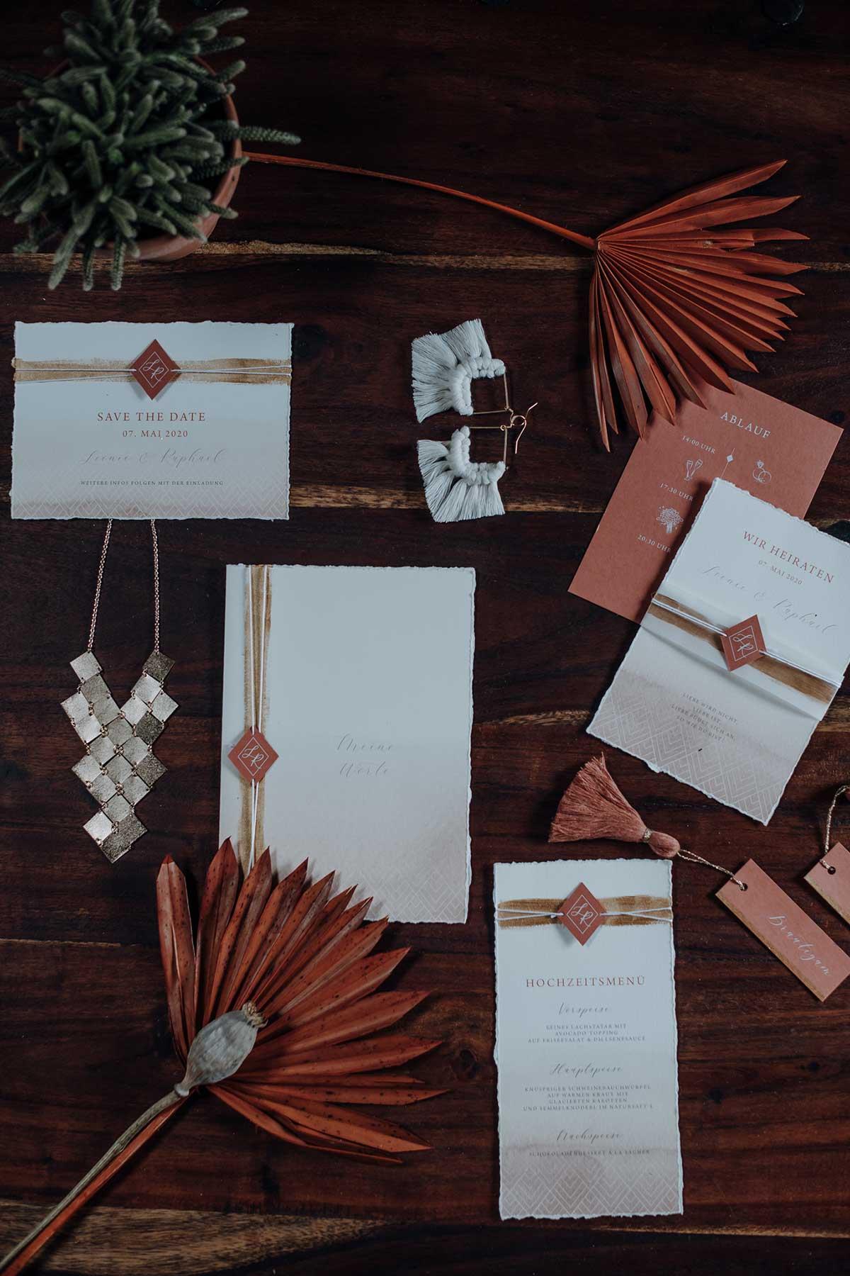 Papeterie für die Ethno-Chic Hochzeit