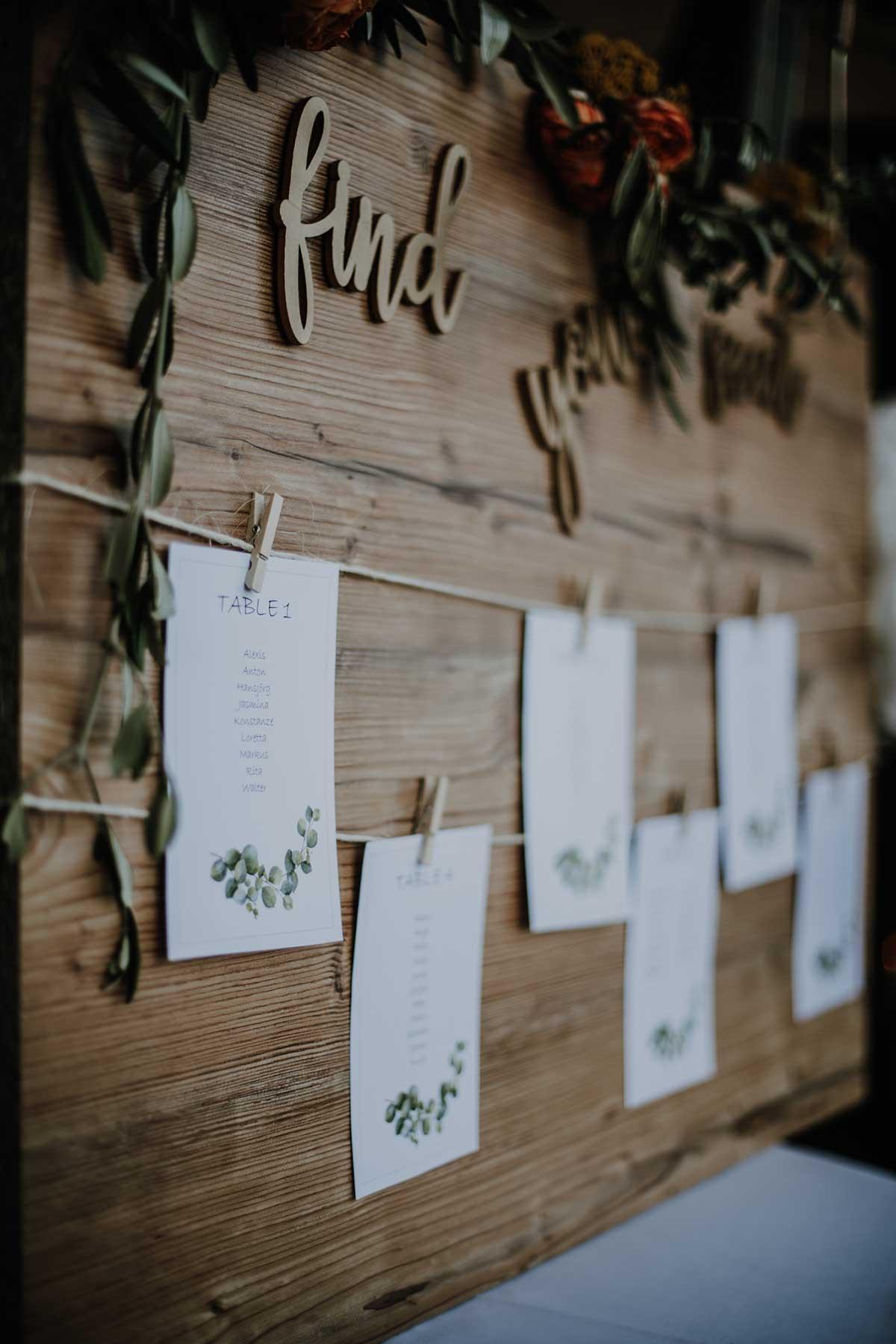Sitzplan bei der Hochzeit