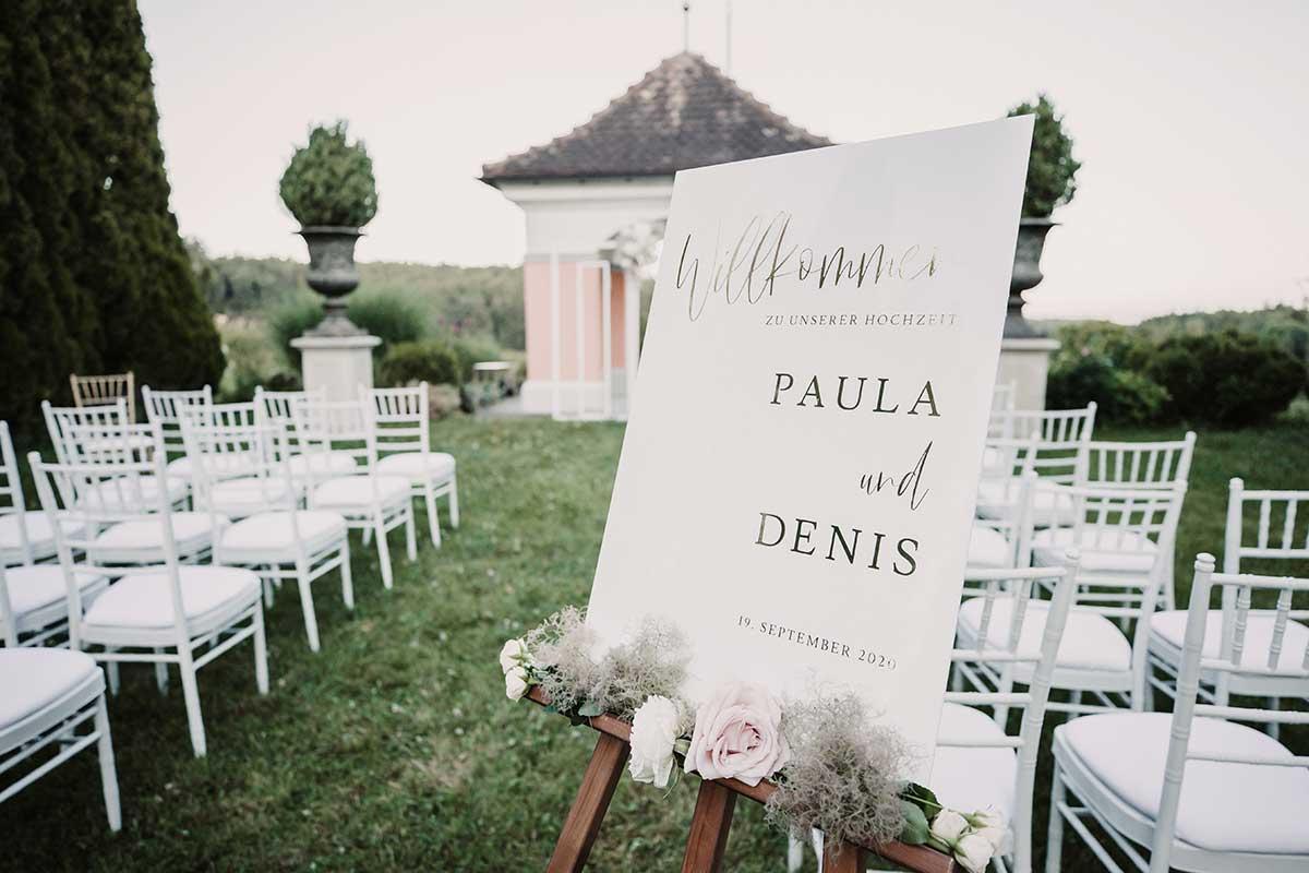 Arcyl Willkommensschild bei der Hochzeit