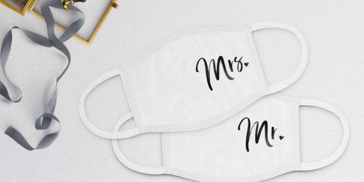 Gesichtsmasken für Braut und Bräutigam