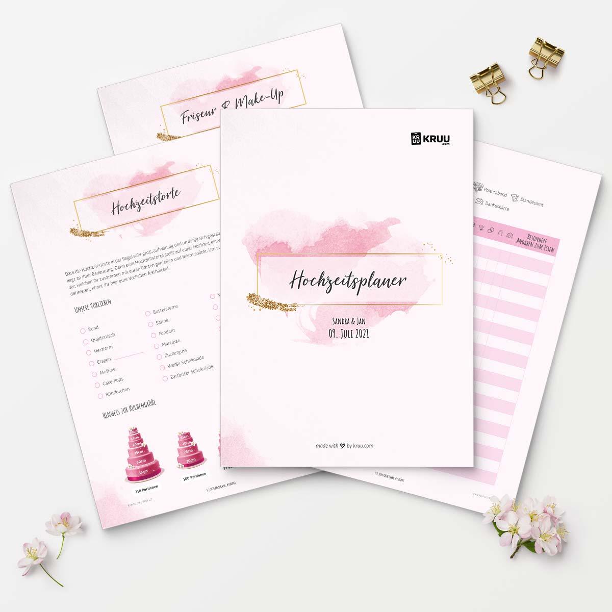 Gratis Hochzeitsplaner: Übersicht Seiten