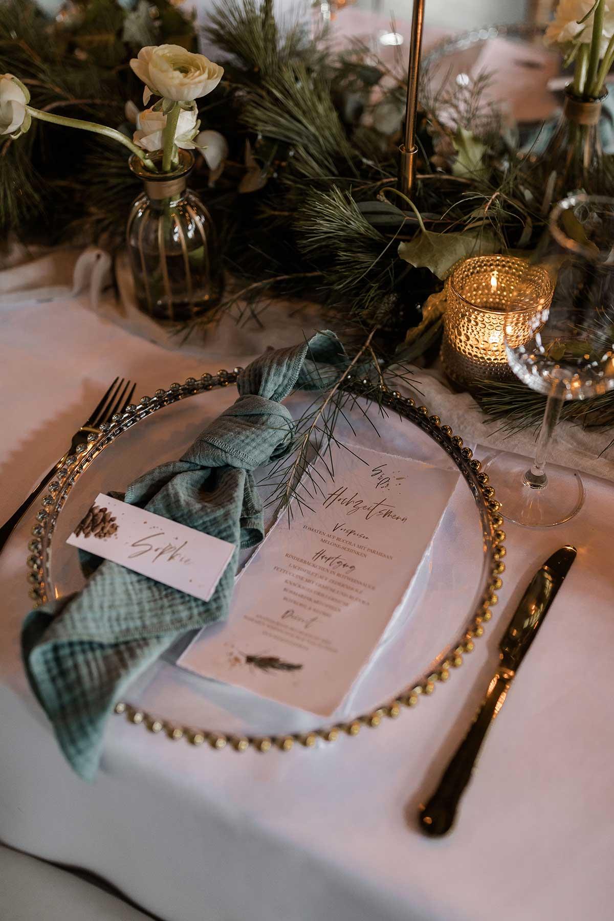 Platzset bei der Winter-Hochzeit