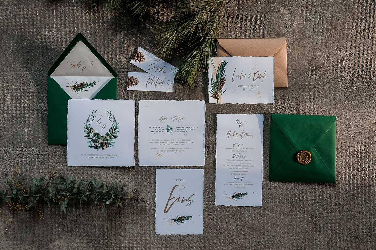 Papeterie passend zur Winter-Hochzeit