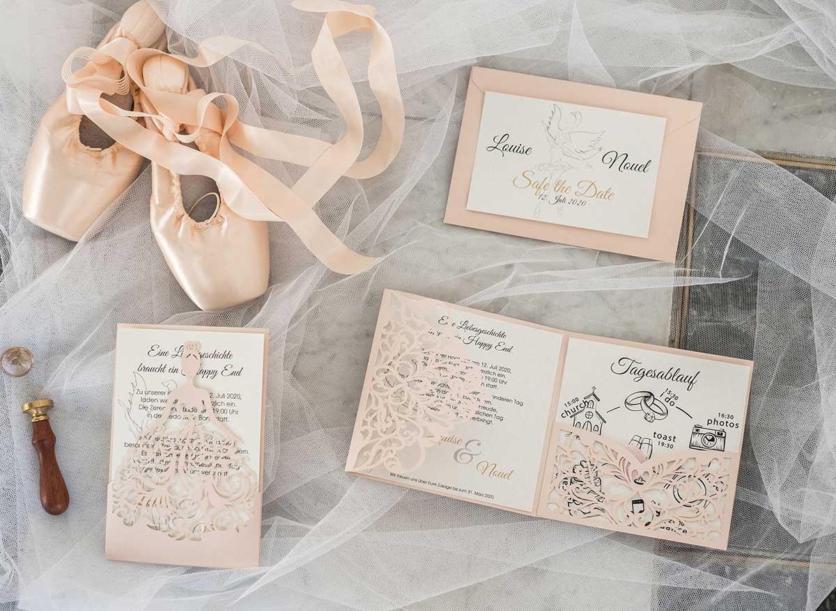 Papeterie mit Lasercut für die Prinzessinnen Hochzeit