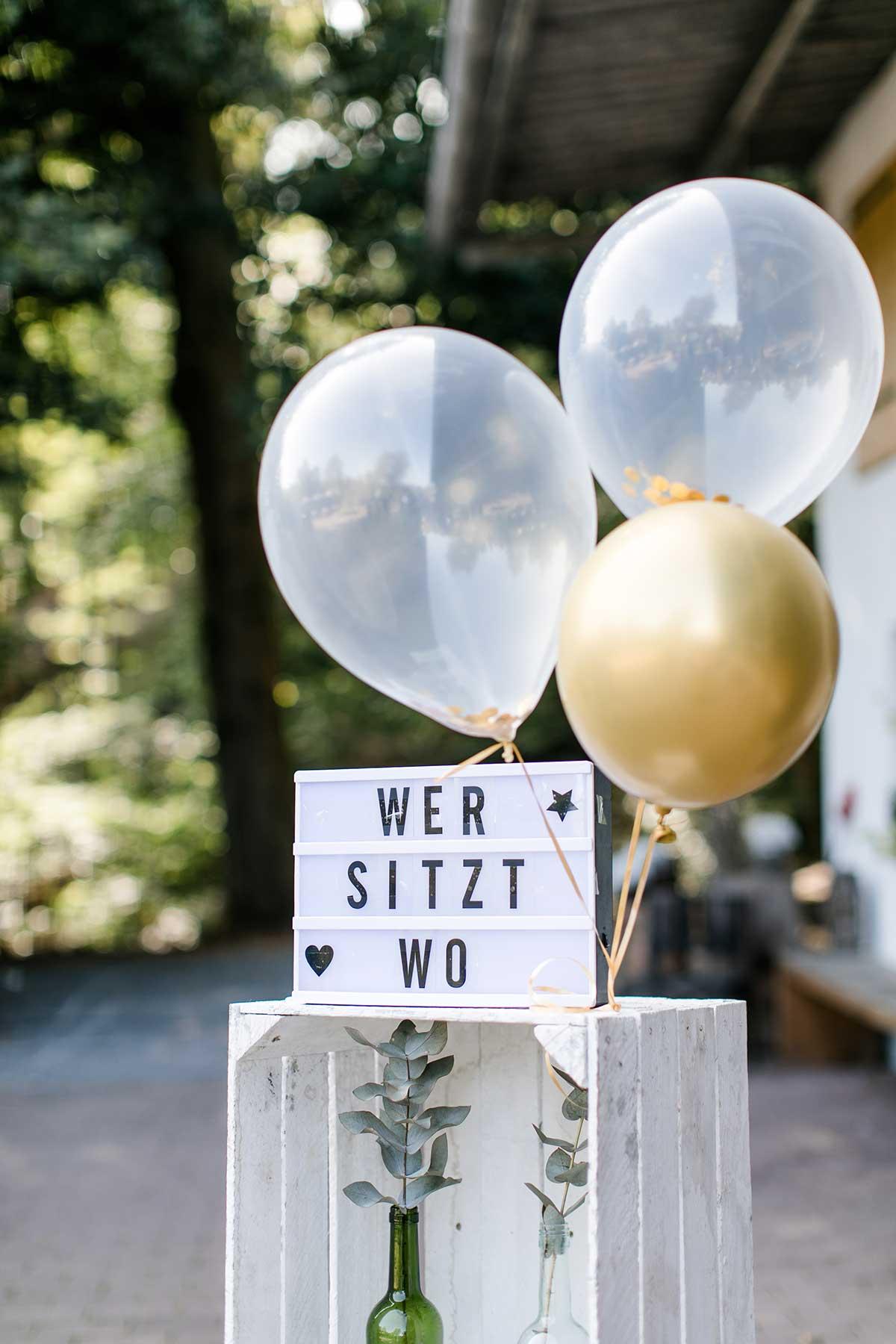 Wer sitz wo Schild bei der Hochzeit