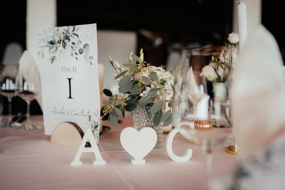 Tischdekoration bei der Hochzeit im Seehaus am Ammersee