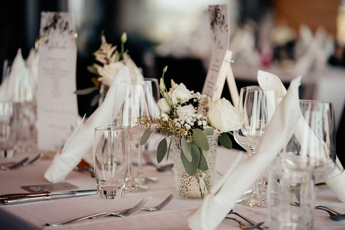 Tischdeko bei der Hochzeit im Seehaus am Ammersee