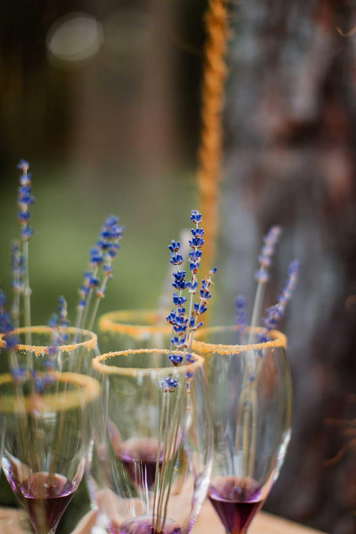 Lavendel zur Dekoration der Gläser