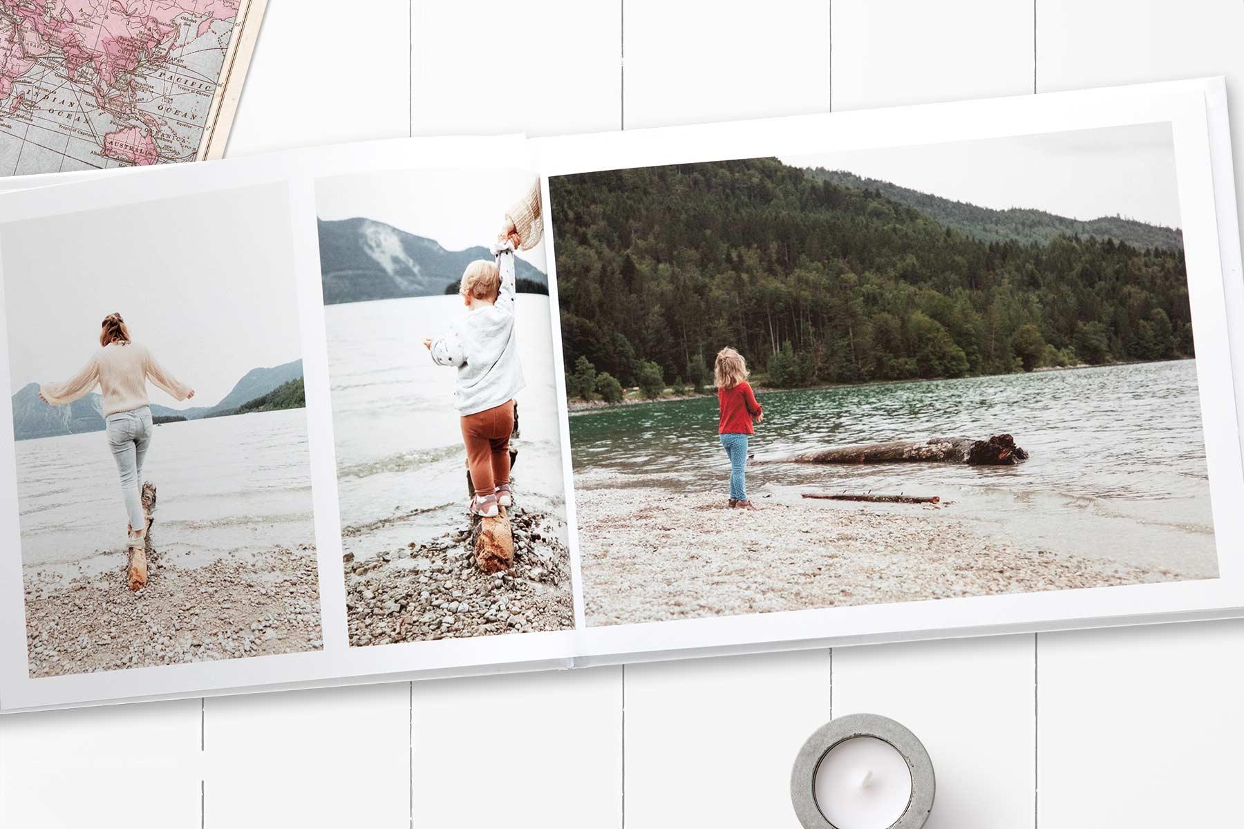 Aufgeschlagenes Fotobuch mit Fotos aus unserem letzten Urlaub